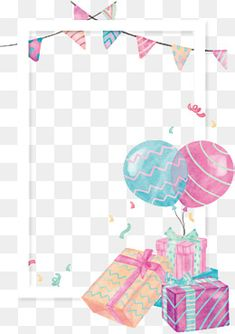 watercolor gift box balloon border, Vector Png, Cute Gift, Gift Pile PNG and Vector Happy Birthday Wishes Photos, Happy Birthday Png, Happy Birthday Wallpaper, Happy Birthday Balloons, Colourful Wallpaper Iphone, Bear Wallpaper, Birthday Frames, Birthday Cards, Bday Background