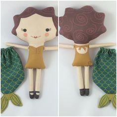 Stuffed Mermaid 3 Doll Handmade Eco-friendly Plush por miomucaro