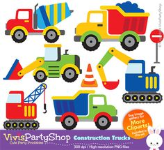 CONSTRUCTION TRUCKS Clipart Printable Instant download PNG
