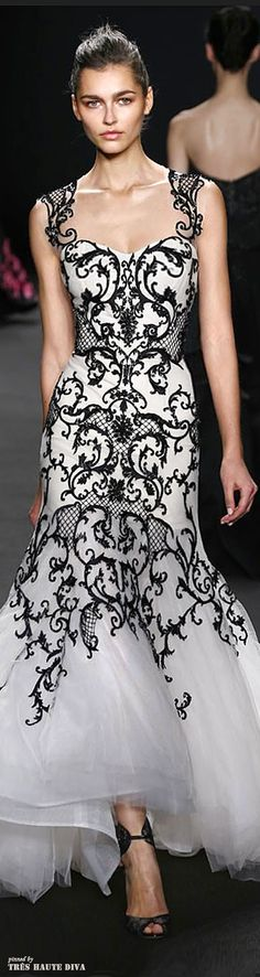 Monique Lhuillier Fall 2014 RTW. This would be amazing for a wedding dress if it was floor length!
