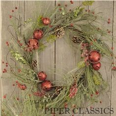 "Christmas Traditions Wreath adds a bit of icy splendor & glitz to country! Contains two kinds of greens with pine cones, red Christmas bells, a few berries and holly leaves and is accented with a generous layer of icy crystals. 24"" diameter. #xmas wreath #holiday decor"
