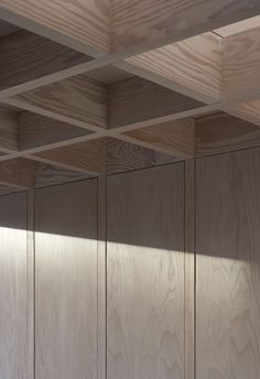 ceiling detail | panelling | Doyle Gardens by Jonathan Tuckey Design. Wood lattice ceiling.