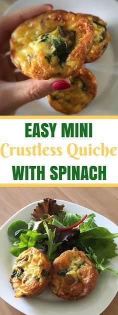 Easy Crustless Spinach Mini Quiche Recipe Easy Mini Crustless Quiche Recipe With Cheese And Spinach Mini Quiches, Healthy Recipes, Vegan Breakfast Recipes, Vegetarian Recipes, Cooking Recipes, Easy Spinach Recipes, Crockpot Recipes, Recipes Dinner, Healthy Foods