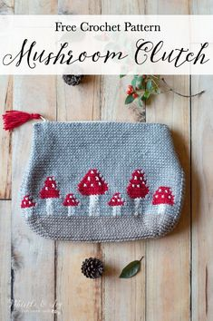Free Crochet Pattern: Crochet Mushroom Pouch | Make this adorable pouch to carry your WIP, your wallet, whatever! Includes a video and graph. #crochetmushroompouch #freecrochetpattern #crochetbag