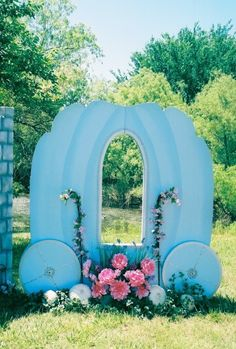 Princess-themed party photo booth idea. Perfect for a Cinderella party!