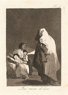 "Goya y Lucientes Francisco (1746 - 1828)  From the series: ""Los caprichos"" - Here comes the bogey - man!, 1797-1798  Etching and aquatint , 21,5 x 15,2 cm."