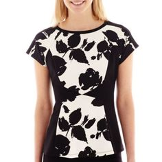 Another peplum in a great print. Worthington® Colorblock Peplum Tee - JCPenney