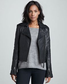 Perfecto Cropped Moto Jacket by LaMarque at Neiman Marcus.