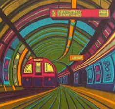 """""""Gail Brodholt / Going Underground linocut to see more of her work… Urban Landscape, Landscape Art, Landscape Paintings, Linocut Prints, Art Prints, Block Prints, Illustrations, Illustration Art, Bonde"""