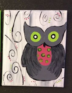 Hand Painted Owl on Canvas on Etsy, $18.00
