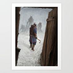 Artwork Print by Jakub Rozalski - X-Small Artwork Prints, Fine Art Prints, Werewolf Art, Winter Storm, Affordable Art, Buy Frames, Knock Knock, Printing Process, Gallery Wall