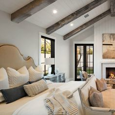 All the cozy bedroom vibes with shiplap and marble fireplace, exposed wood beams, neutral bedroom decor. Such a dreamy Scottsdale home! Neutral Bedroom Decor, Cozy Bedroom, Dream Bedroom, Modern Bedroom, Cozy Master Bedroom Ideas, Modern Farmhouse Interiors, Modern Farmhouse Style, Farmhouse Ideas, Interior Design Farmhouse