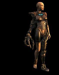 Robot female cyborg steampunk