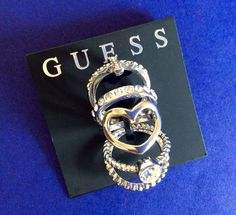 GUESS Silver Tone Set Of 5 Rings Size 7 Women Mothers Accessory Fashion Jewelry #GUESS #SeveralStyles