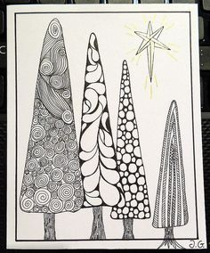 Zentangle style Christmas card 4 (2013): Christmas trees | Flickr - Photo Sharing!