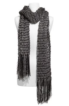 Laundry by Shelli Segal Open Kint Scarf with Suede Fringe loooove :)