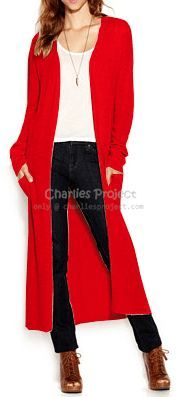 Red Soft Long Duster