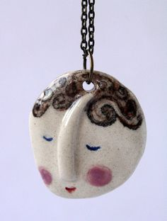 Smiling Face- handmade ceramics pendant, one of a kind via Etsy