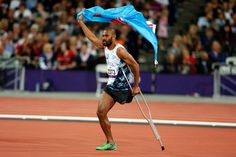 Iliesa Delana from Fiji celebrates winning the Men's High Jump final F42 during the London 2012 Paralympic Games at the Olympic Stadium in London on Sept. 3. (Stefan Wermuth/Reuters).
