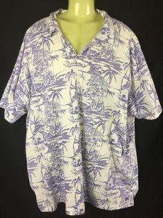 Polo Jeans Company Ralph Lauren Pull on Hawaiian Print Shirt Mens 3xlt 3 xl tall #polojeanscoralphlauren #PoloRugby