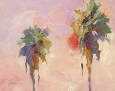 "paintings of palm trees | SUNSET PALM TREES"" by Tom Brown"