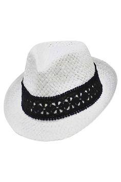 59de2608706 Panama Straw Fedora Hat With Black Lace Band