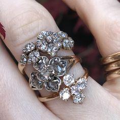 Antique diamond flower rings