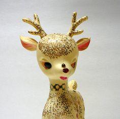 1950s Vintage Christmas Decoration Deer Glitter by EvelynnsAlcove, $19.50