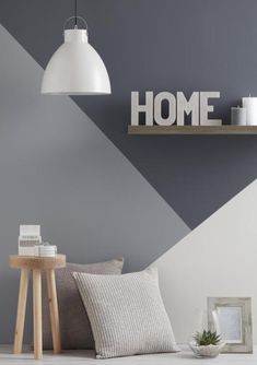 Accent wall ideas for you and your home or room. You can save and share all accent wall decorating pictures. There are easy and cheap ways of . Geometric Wall Paint, Geometric Shapes, Modern Wall Paint, Style Deco, Trendy Home, Living Room Grey, Modern Interior Design, Gray Interior, Modern Interiors