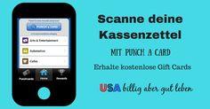 Bekomme mit Punchcard und mPLUS kostenlose Gift Cards durch das einscannen von Kassenzetteln in den USA #UsaBilligAberGutLeben