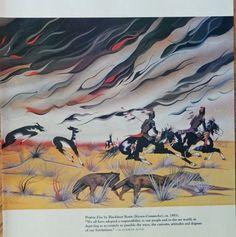 Prairie Fire by Blackbear Bosin  Kiowa Comanche 1953 Color Illustration  scarce print art