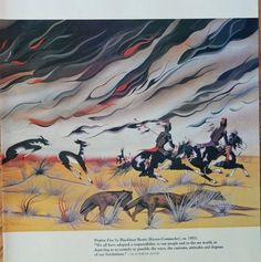 Prairie Fire by Blackbear Bosin  Kiowa Comanche 1953 Color Illustration  scarce print art