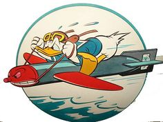 During World War II, Disney had its artists draw up roughly insignias for the U. Donald Duck zooms from an air-launched torpedo, guiding it into its target. Disney Duck, Disney Art, Walt Disney, Military Insignia, Military Art, Cartoon Kunst, Cartoon Art, Cartoon Girls, Cartoon Images