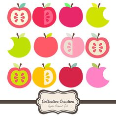Crunch Crunch... Juicy Apple Clipart Set 2- Great for Scrapbooking, Cardmaking and Paper Crafts. $4.00, via Etsy.