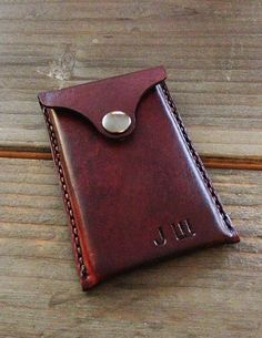 Handmade Leather Business Card Holder With by EchoSix on Etsy, $30.00-SR