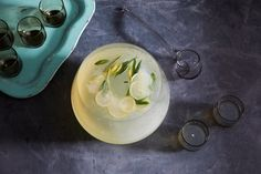 This sparkling punch, with its aromatic mixture of sage, lemon, and ginger, is refreshing and light enough to drink all night.