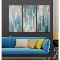 Hand-painted 'Sea of Clarity' 3-piece Gallery-wrapped Canvas Art Set ($102) ❤ liked on Polyvore featuring home, home decor, wall art, blue, horizontal wall art, oversized wall art, canvas wall art, 3 piece wall art and canvas art set