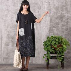 Women summer loose pullover cotton linen dress