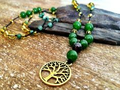 $35 Tree of Life pendant green jade and yellow citrine by HonuHippie