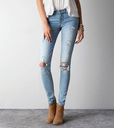 Light Destroy Wash Skinny Jean