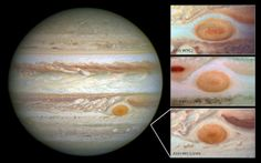 This undated composite handout image provided by NASA, taken by the Hubble Space Telescope, shows the planet Jupiter and the The Great Red Spot in 2014, left