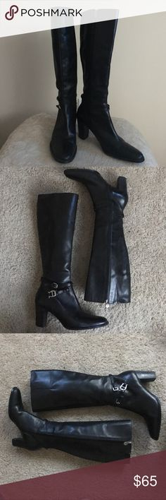 "Etienne Aigner 6 black leather heeled boots Sophisticated and classic Etienne Aigner size 6 black genuine leather heeled boots with size zipper. 10"" at ankle , 14"" at calf, 2.5"" heel and boot height of 15"" Etienne Aigner Shoes Heeled Boots"