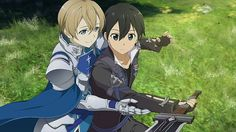 Sword art online Hollow Realization Eugeo and Kirito Kirito Kirigaya, Kirito Asuna, Kunst Online, Online Art, Sword Art Online Hollow, Eugeo Sword Art Online, Sao Game, Alice, Anime Expo