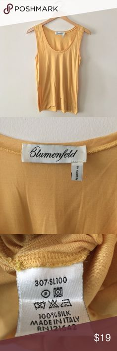 100% Silk Top Yellow sleeveless silk top. Made in Italy. Great condition. blumenfeld Tops