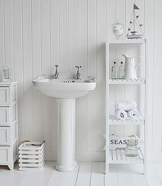 Brighton White Bathroom Shelf Unit With 4 Shelves For Storage