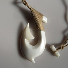 Free shipping  Large bone carving fish hook pendant for by Bumade, $14.00