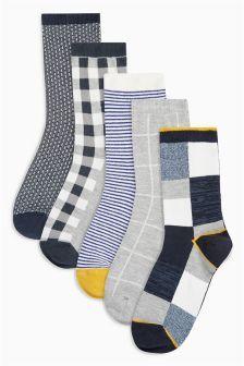 Check Stripe Socks Five Pack