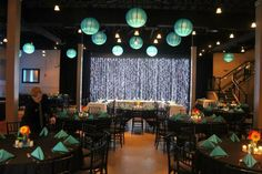 Unique teal theme at Maceli's. Oh! and they cater too. (courtesy of @Pinstamatic http://pinstamatic.com)