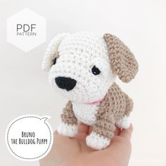 "Excited to share this item from my shop: AMIGURUMI PATTERN/ tutorial (English) Amigurumi Bulldog - ""Bruno the Bulldog Puppy"" pdf - US terminology Toy Bulldog, Bulldog Puppies, Crochet Animals, Crochet Toys, Easy Crochet, Yarn Dolls, Dog Pattern, Tropical, Sewing Basics"