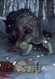 Werewolf in winter by SLBertsch.deviantart.com on @deviantART in the original story, the wolf won.